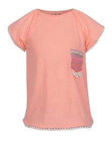 Tricou portocaliu 5.10.15 cu buzunar pe piept pentru fete