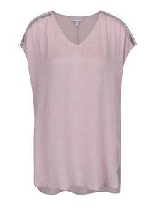 Tricou roz prăfuit Gina Laura cu aplicații pe umeri
