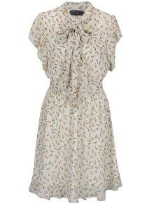 Béžové vzorované šaty s viazankou Pretty Girl