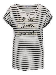 Černo-krémové pruhované tričko s potiskem Gina Laura