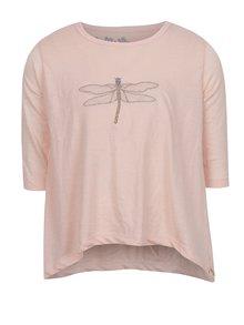 Světle růžové holčičí volné tričko s nášivkou ve tvaru vážky 5.10.15.