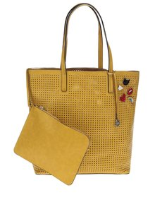 Geantă shopper galben muștar Nalí  2 în 1