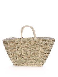 Béžový slaměný shopper s bambulemi Nalí