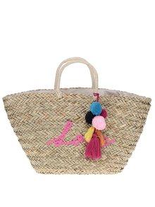 Béžová slaměná kabelka s bambulemi Nalí