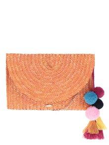 Oranžová slamená listová/crossbody kabelka s brmbolcami Nalí