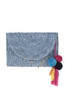 Modrá slamená listová/crossbody kabelka s brmbolcami Nalí