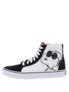 Černo-bílé unisex kotníkové tenisky s motivem Snoopyho VANS UA SK8
