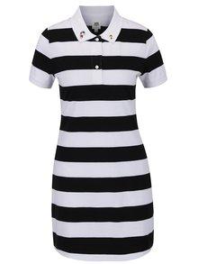 Černo-bílé pruhované polo šaty s výšivkou Snoopyho VANS Peanuts