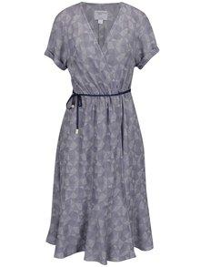 Modré vzorované zavinovací šaty Jana Minaříková