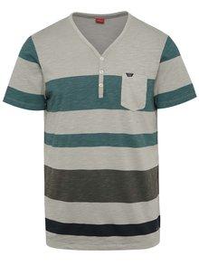 Zeleno-šedé pruhované pánské triko s.Oliver