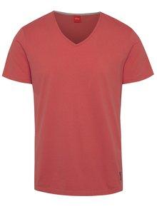 Červené pánske tričko s véčkovým výstrihom s.Oliver