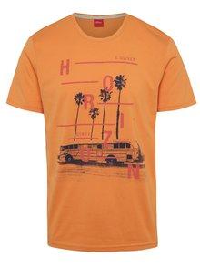 Červeno-oranžové pánské triko s potiskem s.Oliver