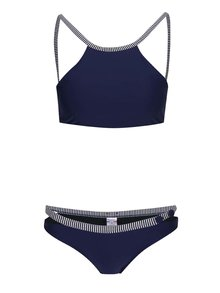Bílo-modré dvoudílné plavky s knoflíky a pruhovanými detaily Relleciga