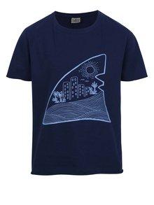 Tricou bleumarin cu print Shark in the park