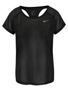 Čierne dámske funkčné tričko s prestrihmi na chrbte Nike