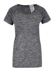 Šedé dámské žíhané funkční tričko s krátkým rukávem Nike