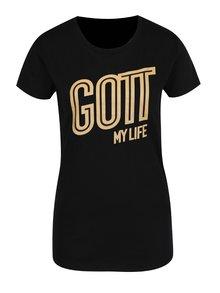 Čierne dámske tričko s potlačou Gott My Life