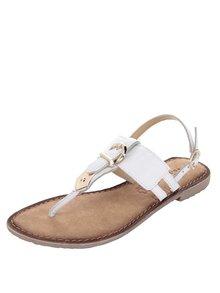 Krémové kožené sandály s detaily ve zlaté barvě Tamaris