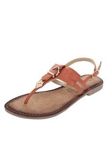 Oranžové kožené sandále s detailmi v zlatej farbe Tamaris