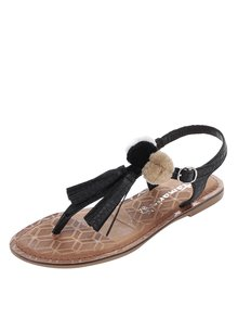 Čierne kožené sandále s brmbolcami Tamaris