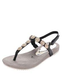 Sandale flip-flop negre Tamaris cu aplicații metalice