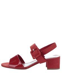Červené sandálky na širokém podpatku Tamaris