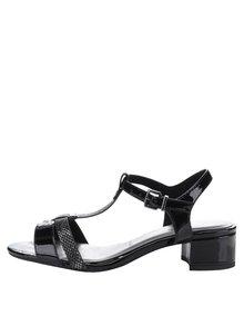 Sandale negre lăcuite cu toc gros Tamaris