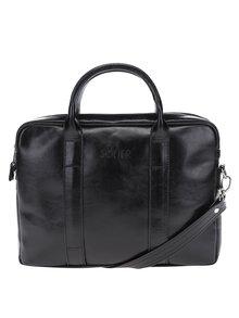 Černá pánská lesklá kožená taška na notebook Solier