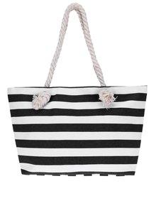 Geantă shopper negru& alb Haily's Stripey cu model în dungi