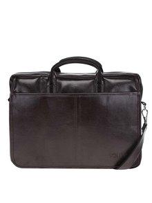 Tmavě hnědá pánská lesklá taška na notebook Solier