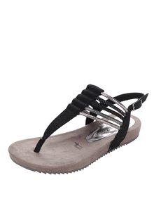 Čierne sandále s remienkami v striebornej farbe Tamaris