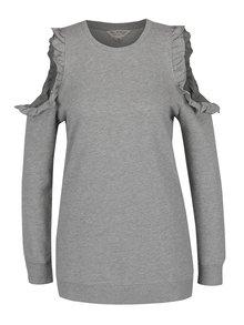 Bluză gri Miss Selfridge cu mâneci lungi și decupaj pe umeri