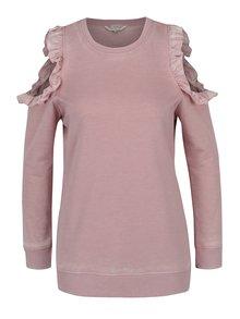 Bluză roz Miss Selfridge cu mâneci lungi și decupaj pe umeri