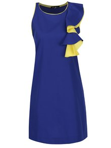 Žluto-modré šaty s volánem Lena Criveanu