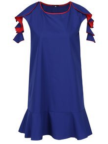 Červeno-modré volné šaty s volány Lena Criveanu