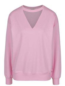 Bluză roz Misss Selfridge cu decupaj în V și mâneci lungi
