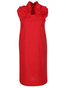 Červené šaty bez rukávov s volánmi Lena Criveanu