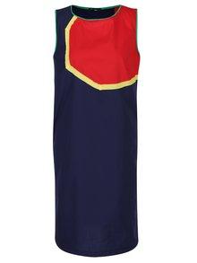 Červeno-modré volné šaty bez rukávů Lena Criveanu