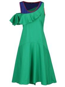 Modro-zelené asymetrické šaty s volánom Lena Criveanu