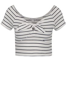 Tricou crop alb&bleumarin Miss Selfridge cu model în dungi