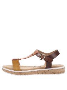 Kožené sandály v hořčicové, oranžové a hnědé barvě Tamaris