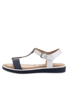 Kožené sandále v modrej, hnedej a bielej farbe Tamaris