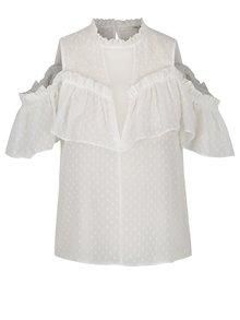 Bluză albă Miss Selfridge din șifon cu picouri și mâneci scurte