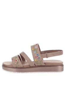 Hnedé sandále na platforme s výšivkou Tamaris