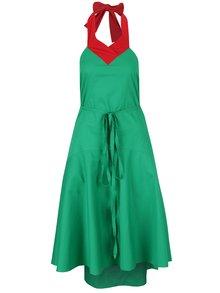 Červeno-zelené šaty so zaväzovaním za krk a odhaleným chrbtom Lena Criveanu