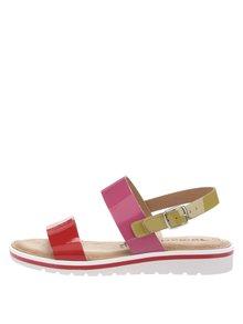 Kožené sandále v červenej, ružovej a zelenej farbe Tamaris