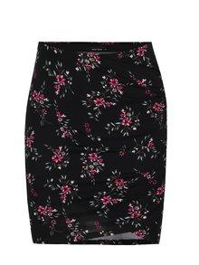 Černá květovaná sukně s řasením na boku TALLY WEiJL