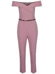 Ružový overal s odhalenými ramenami Miss Selfridge