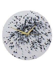 Černo-bílé nástěnné hodiny Umelohmotné