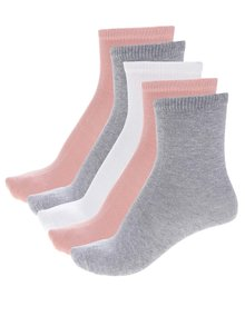Sada pěti párů holčičích ponožek v růžové,šedé a bílé barvě name it